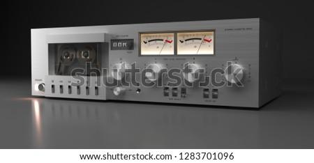 Vintage stereo cassette deck closeup, 3D rendering isolated on dark background. 3D render. 3d Illustration