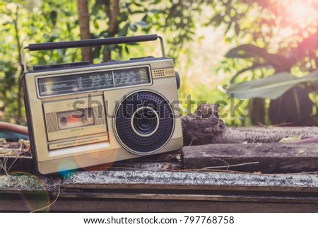Vintage Stereo Put On Old wooden stakes and old roof tiles.