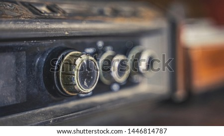 Vintage Stereo Radio Player Buttons