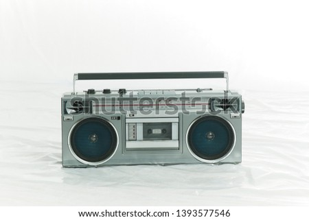 vintage stereo tape recorder on the white background