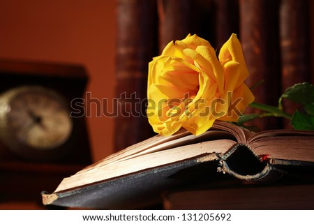 Vintage still life with beautiful yellow rose lying on old book