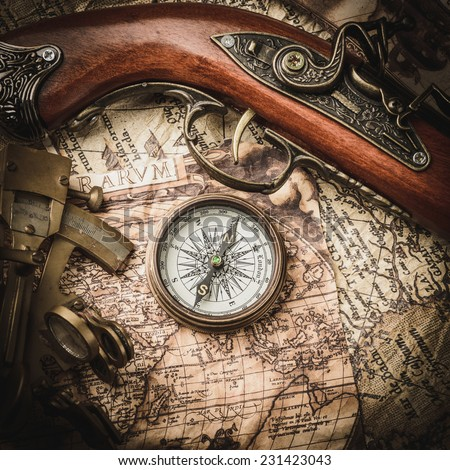 vintage  still life with compass,sextant and old map. map of the 1570. Author: Abraham Ortelius (1527-1598)  #231423043