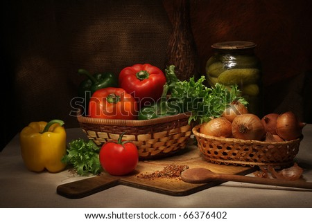 Vintage still life with vegetables