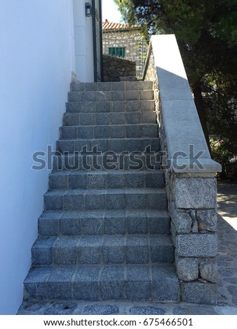 Vintage stone stair steps of a building #675466501