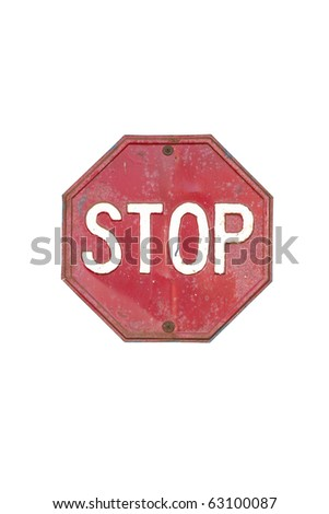 VINTAGE Stop sign isolated on white background