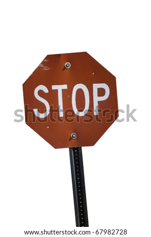 VINTAGE Stop sign with white background