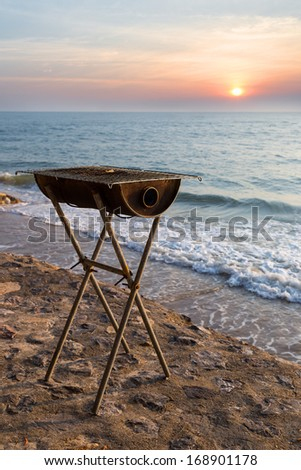 Vintage stove for seafood near the beach