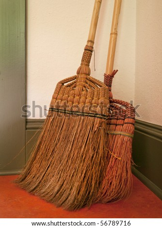 Vintage Straw Brooms Stock Photo 56789716 Shutterstock