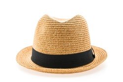 ea8b3f3cde4 Vintage Straw hat fasion for man isolated on white background