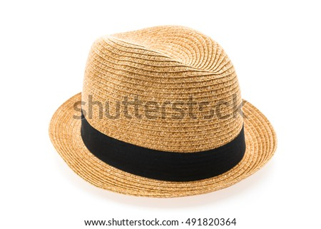 Vintage Straw hat fasion for man isolated on white background #491820364