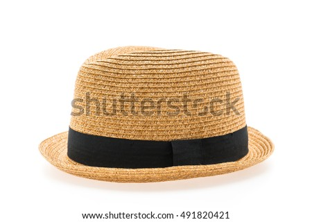 Vintage Straw hat fasion for man isolated on white background #491820421
