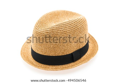 Vintage Straw hat fasion for man isolated on white background #494506546