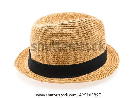 Vintage Straw hat fasion for man isolated on white background #495103897
