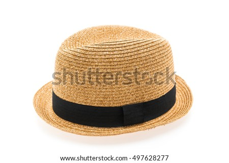 Vintage Straw hat fasion for man isolated on white background #497628277