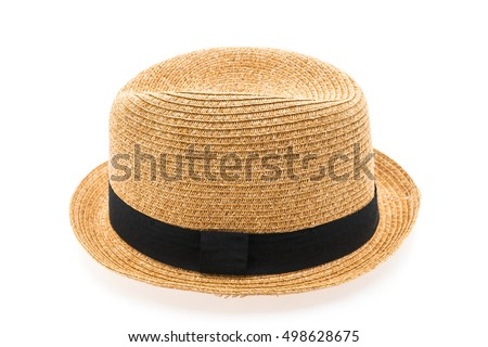 Vintage Straw hat fasion for man isolated on white background #498628675