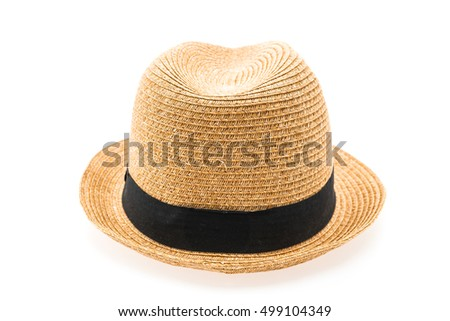 Vintage Straw hat fasion for man isolated on white background #499104349
