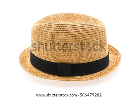 Vintage Straw hat fasion for man isolated on white background #506479282