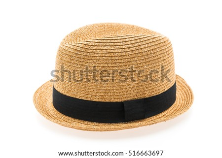 Vintage Straw hat fasion for man isolated on white background #516663697