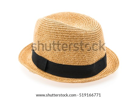 Vintage Straw hat fasion for man isolated on white background #519166771