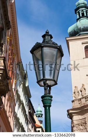 vintage street lantern in Prague