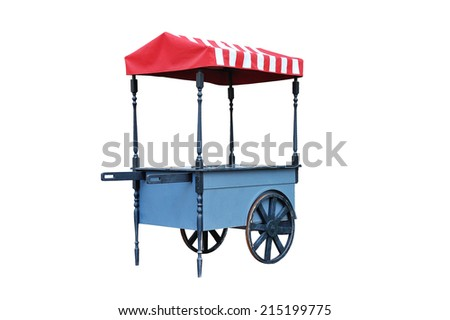 Vintage street shop. Blue farmer's market cart with striped colorful roof