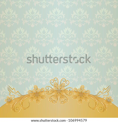Vintage striped background with gold border and flowers