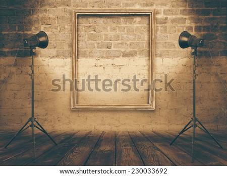 stock photo vintage studio room background with retro photo frame retro filtered instagram style 230033692 - Каталог — Фотообои «Ретро»