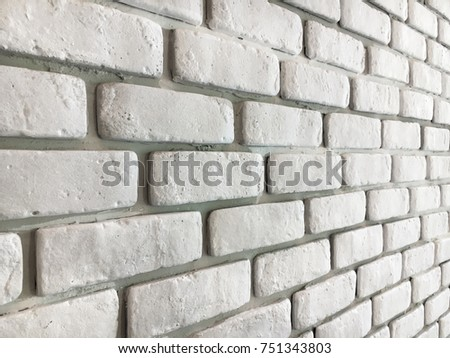 Vintage style and old white bricks wall for background. #751343803