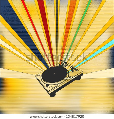 Vintage Style Background illustration for a indie night or DJ set Poster