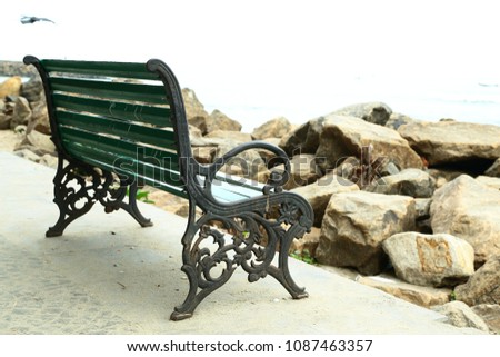 vintage style beach bench.