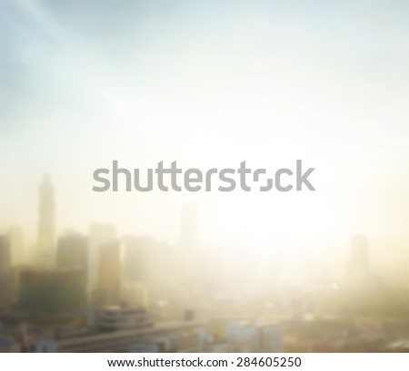 Vintage style. Blurred aerial view of Bangkok skyline on amazing golden warm light at sunrise. Beautiful hotel and resident of Bangkok city, Thailand background. Abstract blur city background concept.