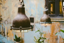 Vintage style brass lamp, soft to focus, vintage concept.