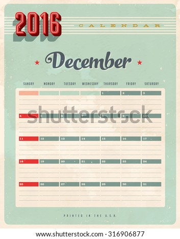 Vintage style 2016 Calendar - December - Vector EPS10. Grunge effects can be easily removed for a brand new, clean sign. #316906877