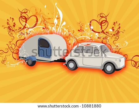 Vintage style camping caravan and car