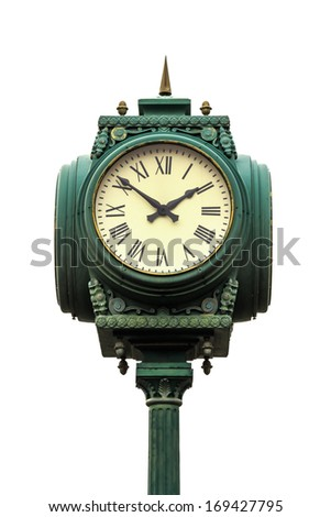 vintage style clock on pillar with roman numerals on white background