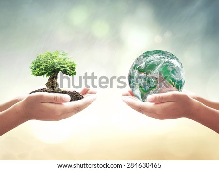 Vintage style. First, human hands holding big tree. Second, human hands holding planet on blurred sunset background. Ecology or World Environment Day concept. Elements of this image furnished by NASA.