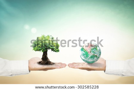 Vintage style. First, human hands holding big tree. Second, human hands holding planet on blurred nature background. Ecology or World Environment Day concept. Elements of this image furnished by NASA.