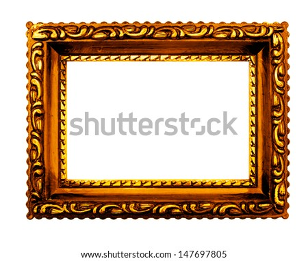 Vintage style gold picture frame, white background.