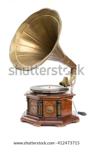 Vintage style gramophone, vinyl music player with white background #412473715