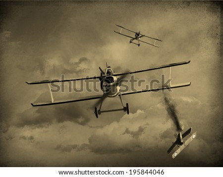 Vintage style image of a World War One fighter aircraft having a dogfight. One airplane was shot down. (Artist impression)
