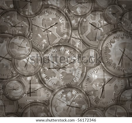 vintage style image of clocks and gears and cogs