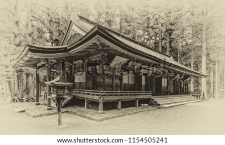 Vintage style image of one of the buildings of the Danjo Garan Temple Complex at Mount Koya in Koyasan, Japan.