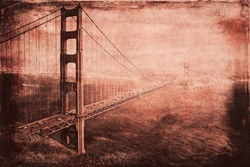 Vintage style image of the Golden Gate Bridge, San Francisco, California, USA.