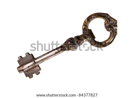 Vintage style key isolated over white background with clipping path