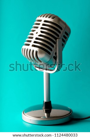 vintage style microphone in...