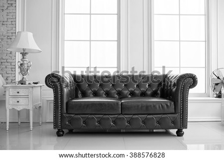 vintage style of interior decoration the leather sofa in white room #388576828