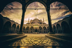 Vintage style of Sultan Ahmed Mosque (Blue Mosque) , Istanbul, Turkey