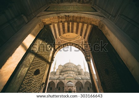Vintage style of Sultan Ahmed Mosque (Blue Mosque) , Istanbul, Turkey #303166643