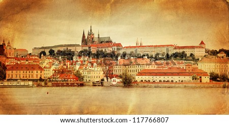 Vintage style panorama of old Prague, Czech Republic