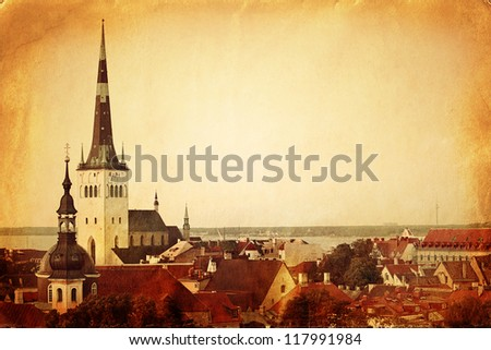 Vintage style panoramic view of Tallinn. Estonia